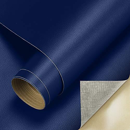 Cahomo 60 x 300 cm (1 rotolo) pellicola autoadesiva in pelle PU, tessuto similpelle vinile rivestimento rivestimento per credenza, borsa in pelle, sedile auto, divano mobili riparazione blu scuro