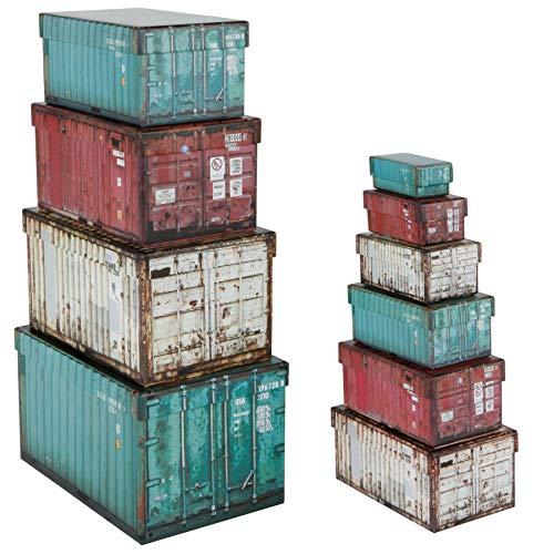 Container Boxen 10er Set - Deko Boxen im Übersee Container Design - Aufbewahrungsboxen mit Deckel