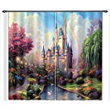 LB Teen Kids Decor Collection,2 Panels Room Darkening Blackout Curtains,Rainbow on The Castle Wonderland 3D Window Treatment Curtains Living Room Bedroom Window Drapes,28 by 65 inch Length