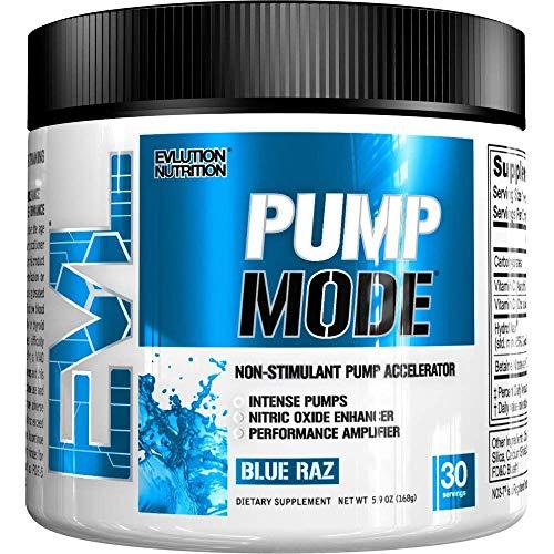EVLution Nutrition パンプモード(PumpMode)非刺激性 パンプアクセラレーター サプリメント (ブルーラズ味 168g/30回分) [並行輸入品]
