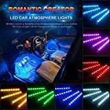 Car LED Strip Light, Wsiiroon Newest Style Car Interior Lights, Brighter LED Lamps, Infinite DIY Colors with Sound Active Function with Rmote Controller (DC 12V)