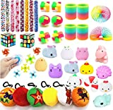 Party Favors For Kids Toy Assortment Bundle,Mochi Squishies,Puzzles,Finger Gyro Spiral Twister Toys For Birthday Party,Classroom Rewards,Carnival Prizes,Pinata Filler,Treasure Box,Goodie Bag Filler (Toy)