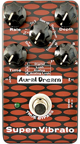 Aural Dream Super Vibrato Guitar Effect Pedal with 4 Vibrato modes and 6 modulation waveforms reaching 24 vibe effects,True bypass