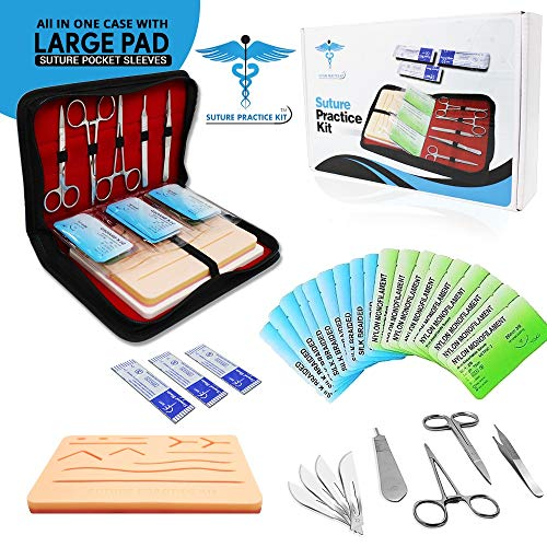 Suture Practice Kit w Suturing Guide E-Book,[Large Case...