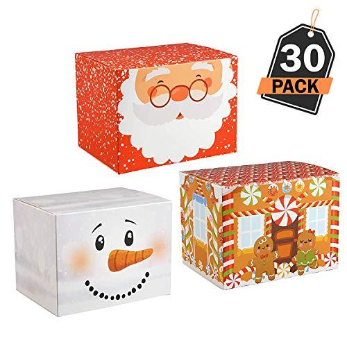 30 Cajas para Empaque de Regalos Navideños– Mejor que el Papel de Embalaje de Navidad – Ideal para Empacar Productos de Repostería, Dulces - Articulo de Papelería para Decoración de Obsequios