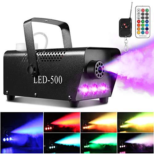 Nebelmaschine, AGPtEK Rauchmaschine mit 13 farbigen LED Lichtern und RGB Effekt, 500W und 2000CFM mit 2 kabelgebundenen und Funkfernbedienungen, perfekt für Hochzeiten, Halloween und Bühnenshows