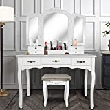 Vanity Beauty Station,Large Tri-Folding Necklace Hooked Mirrors,6 Organization 7 Drawers Makeup Dress Table with Cushioned Stool Set - White