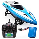 Force1 Velocity RC Boat - H102 RC Boat for Adults and Kids for Pools and Lakes, 20+ mph Speed, 4 Channel 2.4GHZ Remote Control and Durable (Blue)