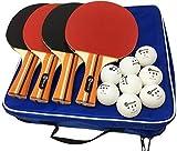 JP WinLook Ping Pong Paddle - 4 Pack; Pro Premium Patent Table Tennis Racket Set; 8 Professional Game Balls; Training Accessories Racquet Bat Bundle Kit; Portable Cover Case; Indoor Outdoor
