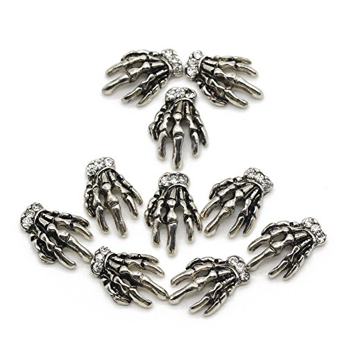 BeeSpring Vintage Silver Skeleton Hand Nail Decorations for Nail Art Designs(10Pcs)