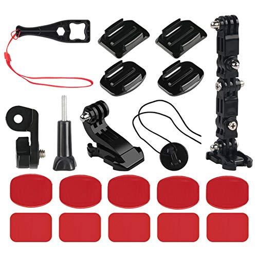 Nsiwem 20 Pezzi Kit Accessori per Gopro Braccio di Regolazione della Staffa Estensioni Supporti per Gopro Fissaggio di Base per Fotocamere Sportive, Nero