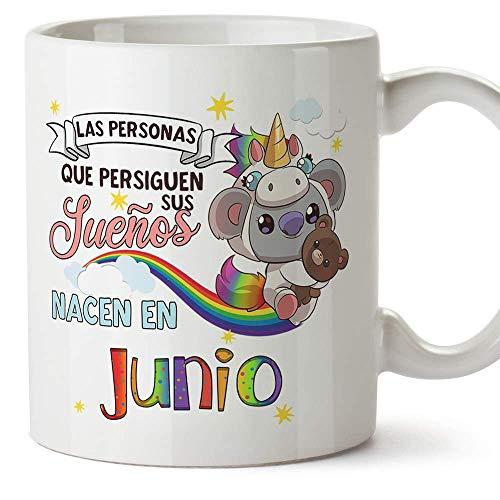 MUGFFINS Taza de Cumpleaños Koala mes de Junio - Regalos Desayuno Feliz Cumpleaños/Aniversario. Cerámica 350 mL