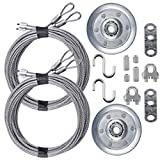 Garage Door Cable and Pulley Replacement Kit Including 2 Pairs of Galvanized Aircraft Cables - 3/32' and 1/8' Diameter, Two Heavy Duty 3' Sheaves, 10 Fasteners for Overhead Sectional Garage Doors