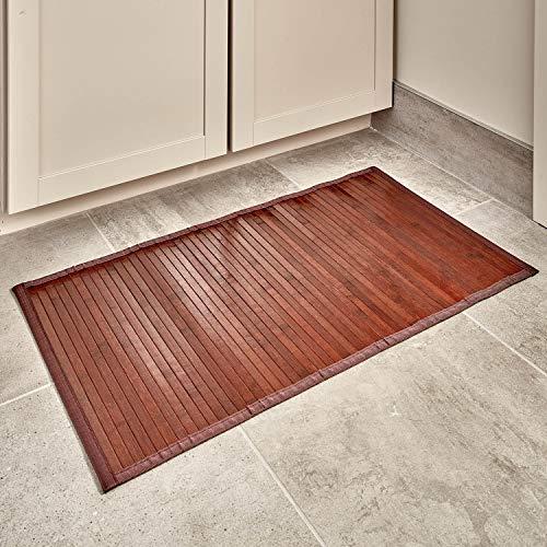 iDesign Tappeto bagno antiscivolo in bambù, Tappetino bagno impermeabile, Ampio tappeto antiscivolo perfetto per bagno,...