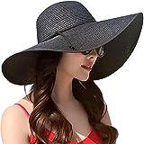 Lanzom Womens Wide Brim Straw Hat Floppy Foldable Roll up Cap Beach Sun Hat UPF 50+ (Style B-Black)