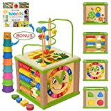 Toyventive Wooden Kids Baby Activity Cube - Boys Gift Set   One 1, 2 Year Old Boy Gifts Toys   Developmental Toddler Educational Learning Boy Toys 12-18 Months   Bead Maze, First Birthday Gift