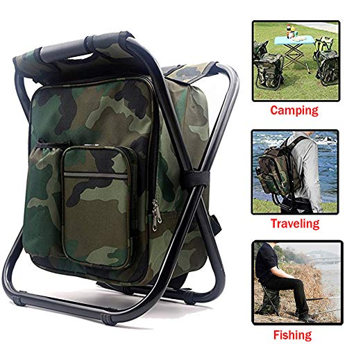 7. HANERDUN 3 in 1 Cooler, Backpack & Foldable Ice Fishing Chair