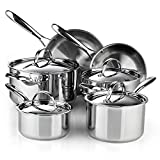 Cooks Standard Classic 10-Piece Stainless Steel Cookware Set, Silver