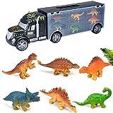 FXQIN Camión Transportador de Dinosaurios Maletín Portacoches en el Mundo Jurásico Conjunto Incluye Surtido de 6 Dinosaurios Coche De Dinosaurio para Niños