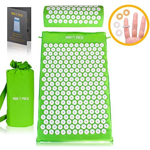 High Pulse Akupressur Set + Tasche + Poster – Akupressurmatte & Kissen stimuliert die Blutzirkulation und löst Verspannungen (Grün)