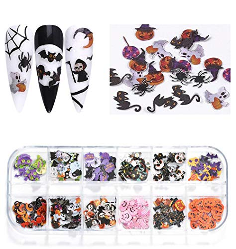 Halloween Nail Stickers Decals Halloween Fall Nail Art Supplies Sequins Wood Pulp 3d Nail Art Cute Cat Pumpkin Ghost Bat 12 Design Nail Stuff Nail Glitter Acrylic Nail Decorations For Halloween Party
