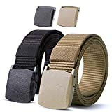 Nylon Military Tactical Men Belt 2 Pack Webbing Canvas Outdoor Web Belt with Plastic Buckle gift for...