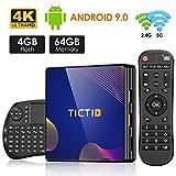 Android 9.0 TV Box4G+64Gcon Mini Teclado inalmbirco con touchpad RK3318 Quad-Core 64bit Cortex-A53, Wi-Fi-Dual 5G/2.4G,BT 4.1, 4K*2K UHD H.265, USB 3.0 Smart TV Box