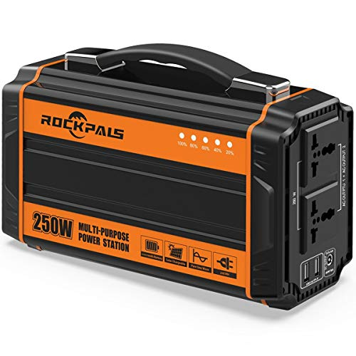 Rockpals 250-Watt Portable Generator Rechargeable Lithium Battery Pack Solar Generator...