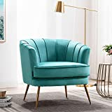 Altrobene Velvet Accent Chairs Curved Tufted Chairs with Golden Finished Metal Legs for Small Space, Modern Armchairs for Home Office/Living Room/Bedroom, Dark Teal