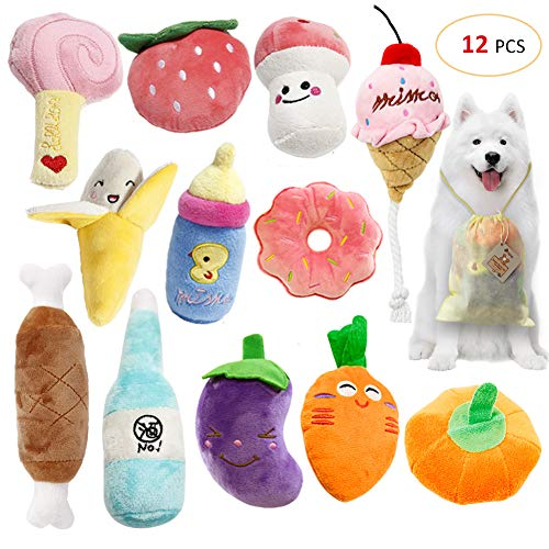 SITENG Squeaky Plush Dog Toy Pack for Puppy, Small Stuffed - Puppy Chew Toys - Set of 12 Dog Toys Bulk with Squeakers, Cute Plush Soft Toys for Small Medium Dog Pets