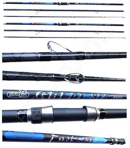 Kit 2 Canne Julia Rod Surfcasting Ripartite 3 Sezioni 4.50Mt 250Gr Pesca Surf