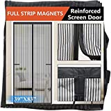 Magnetic Screen Door 2021-Model Full Strip Magnets,Reinforced Heavy Duty Mesh Screen Doors Magnets,Full Frame Seal Retractable Door Screen Magnetic Closure for Front Single Sliding Door,Black