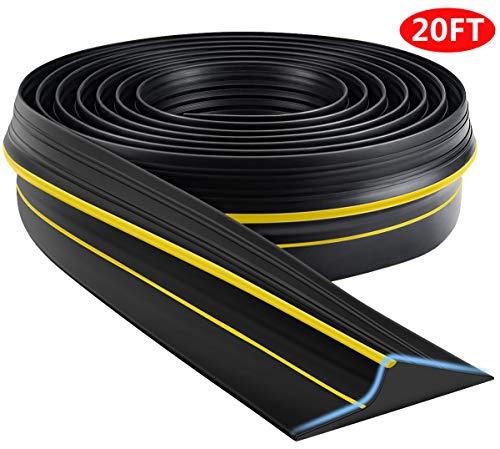 Universal Garage Door Threshold Seal Strip, Bottom Weather Stripping Replacement Rubber Waterproof 20 FT Length