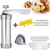 Zhenpony Cookie Press Gun Kit for DIY Biscuit Maker and Decoration with 20 Stainless Steel Cookie discs and 4 nozzles Silver Versatile Reusable For Christmas Party/Birthday(Oven gloves)
