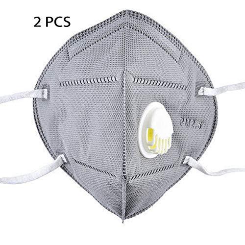 Not brand KN95 Maschera Protettiva Unisex con valvola di respirazione, Maschera Anti-Appannamento, Antibatterica (2 Pezzi)