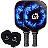 niupipo Pickleball Paddle Set of 2 - USAPA Approved Graphite Pickleball Paddles, Carbon Fiber Surface, Polypropylene Honeycomb Core, Cushion Grip, Paddle Covers, Lightweight Pickleball Racket, Blue