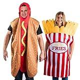 Tigerdoe Hotdog and French Fries Couple Costume - Halloween Funny Costume - Food Costume - Novelty Costumes - 2 Pc Set