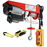 Partsam 1540 lbs Lift Electric Hoist Crane Remote Control Power System, Zinc-Plated Steel Wired Overhead Garage Ceiling Pulley Winch w/Premium Straps (w/Emergency Stop Switch)