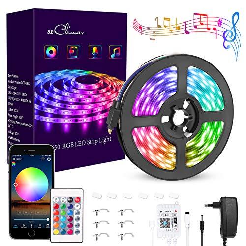 SZ-Climax Striscia LED RGB Alexa, WiFi Striscia Intelligente, Google Home, 5050 LED, 16 Milioni di Colori di Luce Controllata da app per Casa, Cucina, Feste, per iOS Android (16.4FT/5M)