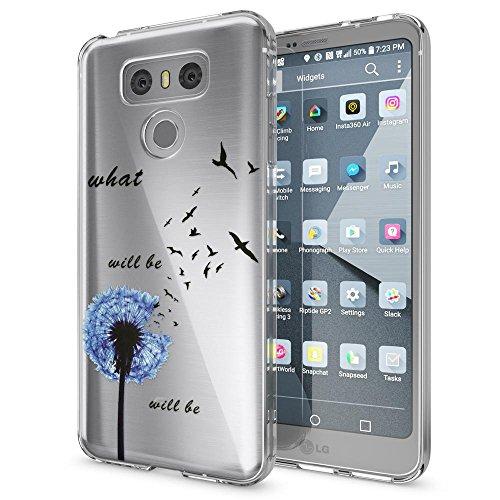 NALIA Custodia compatibile con LG G6, Cover Protezione Silicone Trasparente Sottile Case, Gomma Morbido Cellulare Ultra-Slim Protettiva Bumper Telefono Guscio, Designs:Dandelion Blu