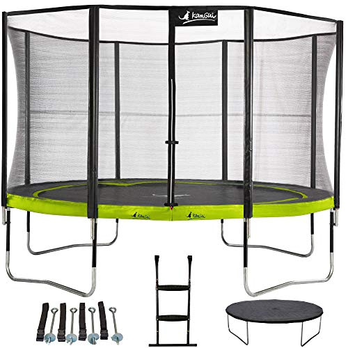 Kangui - Trampoline de Jardin Rond 430 cm + Filet + échelle + bâche + kit d'ancrage PUNCHI Vert 430