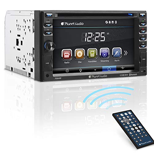 Planet Audio P9640B Car DVD Player – Double Din, Bluetooth Audio and Calling, 6.2 Inch LCD Touchscreen Monitor, MP3 Player, CD, DVD, WMA, USB, SD, Auxiliary Input, AM/FM Radio Receiver