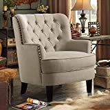 Rosevera Gustavo Collection Fabric Nailhead Club, Contemporary Accent Chairs, Linen Beige