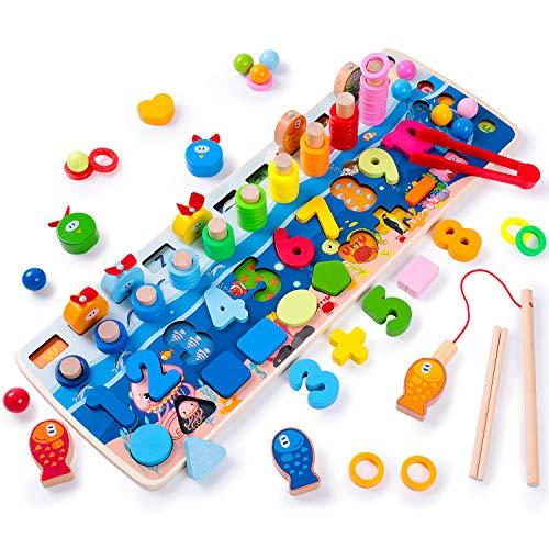 Rolimate Multifunktionales Montessori-Lernspielzeug, Kinder Vorschule Mathe Sortieren Stapeln von Zahlen Zählspiel , Kleinkind Angelspiel Spielzeug für 3 4 5 6 Jahre alte Jungen Mädchen