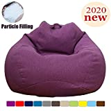 Extra Soft Bean BagChair,Memory Foam BeanBag Seat Chair with Natural Removable Cotton Linen Fabric Particle Filling Lazy Sofa Furniture Couch Tatami for Adult Kids