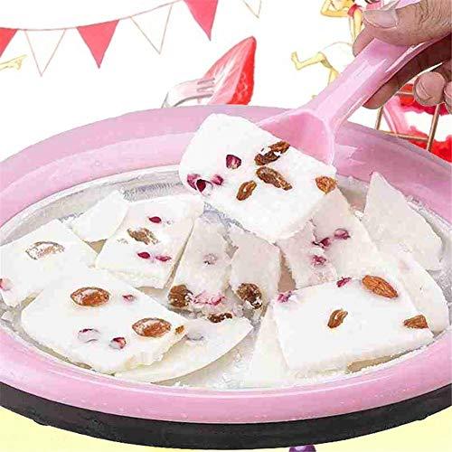 yingmu Macchina per Gelato Arrotolato, Vaschetta per Gelato Istantaneo con 2 Spatole, Gelatiera Rotonda Sweet Spot per Bambini, Mini Gelatiera per Sani Fatti in Casa