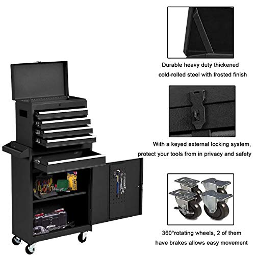 Product Image 5: Compact Tool Box Chest Combo 5 Drawer Mechanic Tool Box Small Heavy Duty Rolling Tool Chest on Wheels Tool Cabinet Organizer with Lockable Drawers Tool Chest Black
