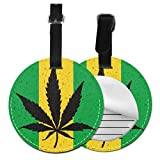 Name Tag For Travel Bag Cool Green Cannabis Leaf Icon Travel Bag Tags Women Luggage Travel Bag Tags with Adjustable Black Strap For Bags & Baggage with Privacy Protection For Women Men