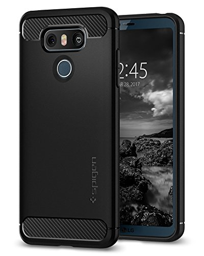 Spigen Rugged Armor, Design in Fibra di Carbonio Originale Cover LG G6 - Nero