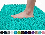 Yimobra Original Luxury Shaggy Bath Mat, Soft and Cozy, Super Absorbent Water, Non-Slip, Machine-Washable, Thick Modern for Bathroom Bedroom (24 x 17 Inch, Lake Blue)